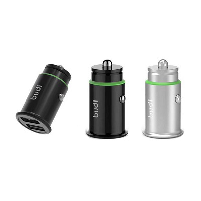 Budi Car Charger 2 USB Port With Aluminum Alloy - M8J623