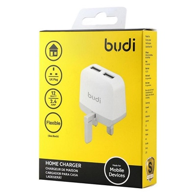 Budi Home Wall Charger 2 USB Port With Plug - M8J940U